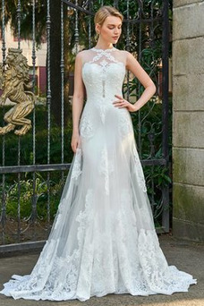 Vestido de novia largo Fuera de casa Pura espalda Capa de encaje Delgado