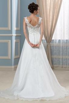 Vestido de novia Natural Corte-A Satén Corpiño Acentuado con Perla Espalda Descubierta