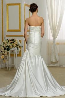Vestido de novia Sin tirantes Satén Delgado Drapeado Cintura Baja Cola Capilla