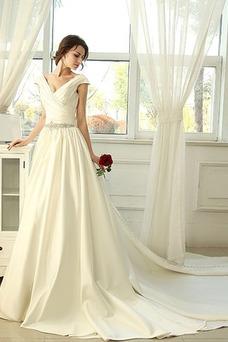 Vestido de novia vendimia Natural Espalda Descubierta Manga corta Escote en V