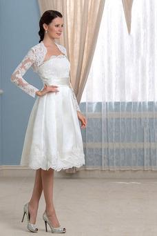 Vestido de novia Mangas Illusion Fuera de casa Volantes Adorno Moderno