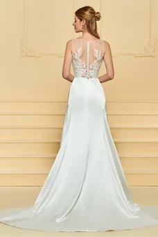 Vestido de novia Satén Plisado Triángulo Invertido Pura espalda Asimètrico
