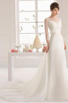 Vestido de novia Corte-A Encaje Moderno Falta Joya largo