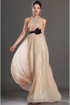 Vestido de noche Gasa 2015 Elegante Natural Verano Escote halter