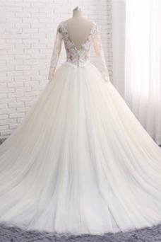 Vestido de novia Romántico Cola Corte Encaje Mangas Illusion Cremallera
