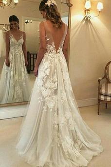 Vestido de novia Apliques Corte-A Capa de encaje Escote en V Natural