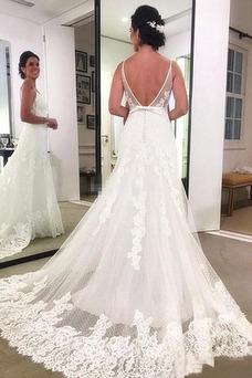 Vestido de novia largo Encaje Corte-A Verano Triángulo Invertido Baja escote en V
