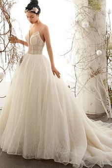 Vestido de novia sexy Escote de Tirantes Espaguetis Sin mangas Corpiño Acentuado con Perla