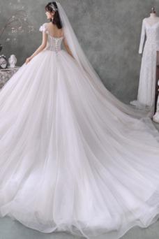 Vestido de novia Iglesia Drapeado Cordón Corte-A Natural Estrellado