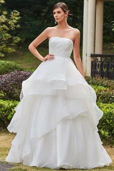 Vestido de novia Sin tirantes Dobladillos Organza Corte-A Hasta el suelo
