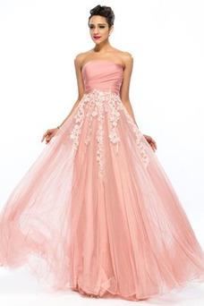 Vestido de fiesta Apliques Cremallera Natural Corte-A Hasta el suelo