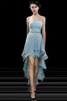 Vestido de cóctel Elegante Gasa Sin mangas Cinturón de cuentas Sin tirantes