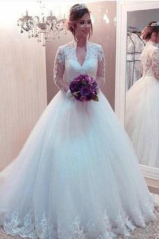 Vestido de novia Manga larga Clasicos Hasta el suelo Baja escote en V