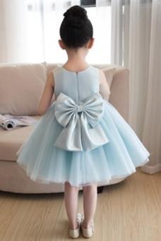 Vestido niña ceremonia Falta Cremallera Joya Satén Corte-A Lazos