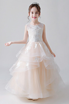 Vestido niña ceremonia Joya primavera Natural Hasta el Tobillo Cordón Falta