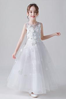 Vestido niña ceremonia Natural Sin mangas Falta Hasta el Tobillo Apliques