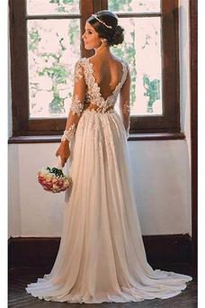 Vestido de novia Encaje Gasa sexy Verano Natural Playa