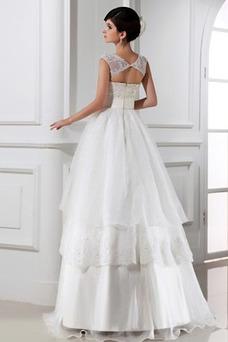 Vestido de novia Encaje Falta Cremallera Rosetón Acentuado Corte-A Natural