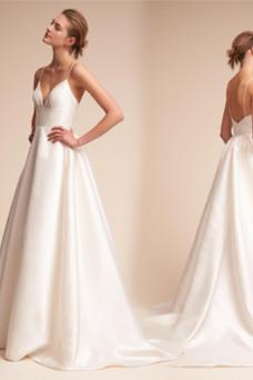 Vestido de novia Falta Escote de Tirantes Espaguetis Corte-A Sin mangas