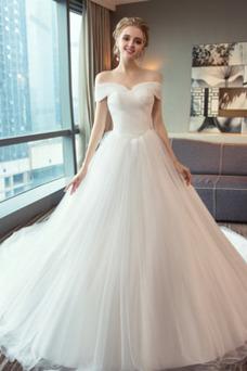 Vestido de novia Blusa plisada Satén Manga corta Escote con Hombros caídos