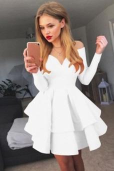 Vestido de cóctel Corto Otoño Oscilación Sencillo Manga larga Escote en V