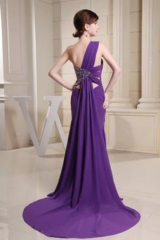 Vestido de fiesta Sin mangas Corte-A Moderno Escote Asimètrico Abalorio