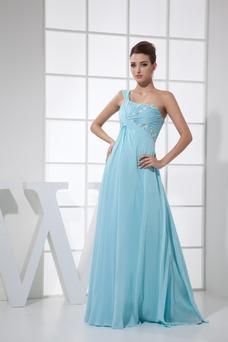 Vestido de fiesta Hasta el suelo Abalorio Falta Escote Asimètrico Elegante