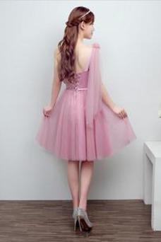 Vestido de dama de honor Glamouroso Natural Corte-A tul Falta Verano