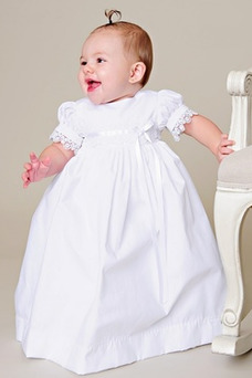 Vestido de Bautizo primavera Falta Corte princesa Imperio Cintura Satén