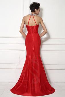 Vestido de noche Corte Sirena Satén largo Drapeado Cordón Escote halter