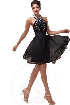 Vestido de noche Gasa Escote halter Corte-A Hasta la Rodilla Falta Elegante