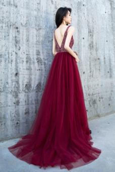Vestido de fiesta Espectaculares largo Frontal Dividida tul Escote en V