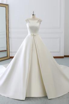 Vestido de novia Invierno Iglesia Cola Barriba Falta Espalda Descubierta