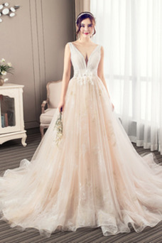 Vestido de novia Corte-A Apliques Baja escote en V Natural Fuera de casa