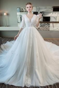 Vestido de novia Invierno Cordón Natural Apliques Mangas Illusion Sala