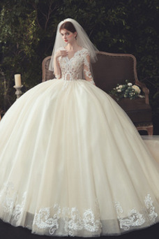 Vestido de novia Pura espalda Capa de encaje Cola Catedral Elegante