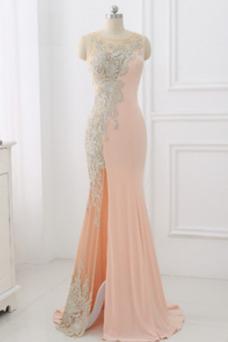 Vestido de noche sexy Apertura Frontal Espalda Descubierta Encaje Frontal Dividida