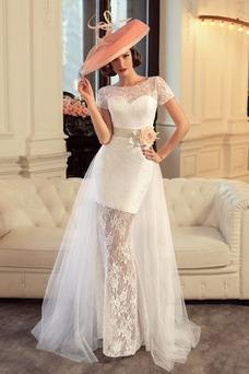 Vestido de novia Flores Romántico Barco Verano Manga corta Corte Recto