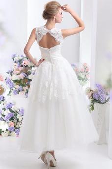 Vestido de novia Hasta el Tobillo Lazos tul Espalda medio descubierto