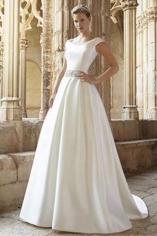 Vestido de novia Natural Espalda medio descubierto Escote redondo Cola Capilla