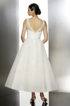 Vestido de novia Playa Barco Hasta la Tibia Sin mangas Natural Espalda medio descubierto
