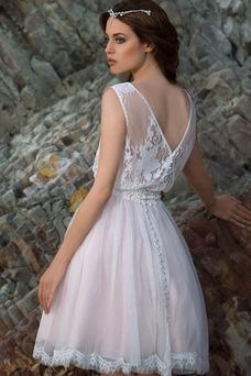 Vestido de novia Playa Sin mangas Natural Bola 2 piezas Barco