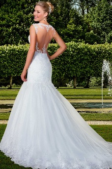 Vestido de novia Con velo Alto cubierto Volantes Adorno tul largo Moderno