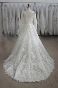 Vestido de novia largo Apliques Joya Cremallera Natural Iglesia
