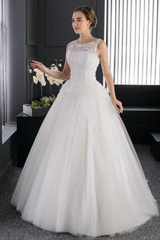 Vestido de novia Apliques Sala Formal largo Encaje Sin mangas
