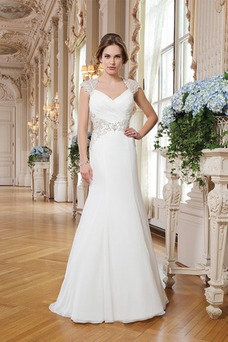 Vestido de novia Corte Sirena Abalorio Queen Anne Cremallera Gasa Elegante
