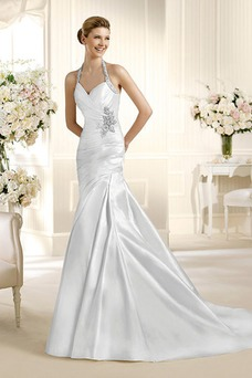 Vestido de novia Elegante Cristal Escote halter Con velo Sin mangas