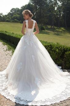 Vestido de novia Encaje Cordón Apliques Cintura Baja Formal Escote en V