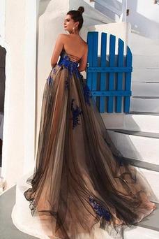Vestido de noche Encaje primavera Corte-A Falta Escote Corazón Sin mangas