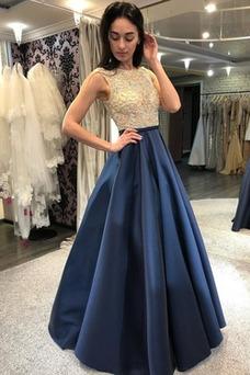 Vestido de noche Natural Colores Otoño Corte-A Abalorio Hasta el suelo